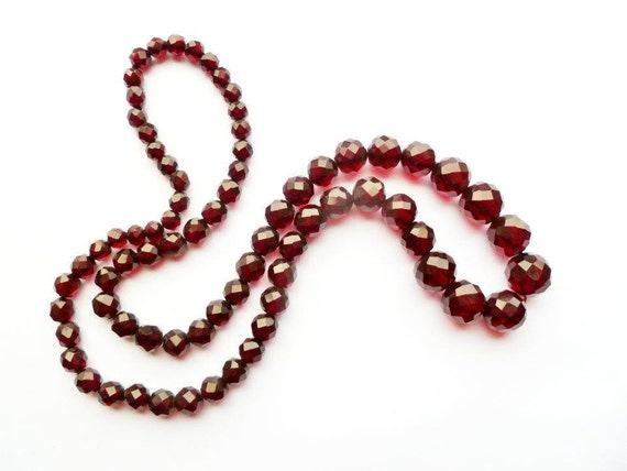 Bakelite Cherry Amber Necklace Faceted Long Sautoir