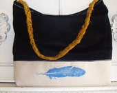 Vegan Leather Tote Bag or Purse with Braided Strap. Woodblock Printed Feather.