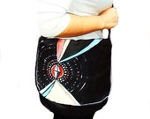 Vegan Leather Messenger Bag with Braided Strap. Hand Painted Geometric Design.