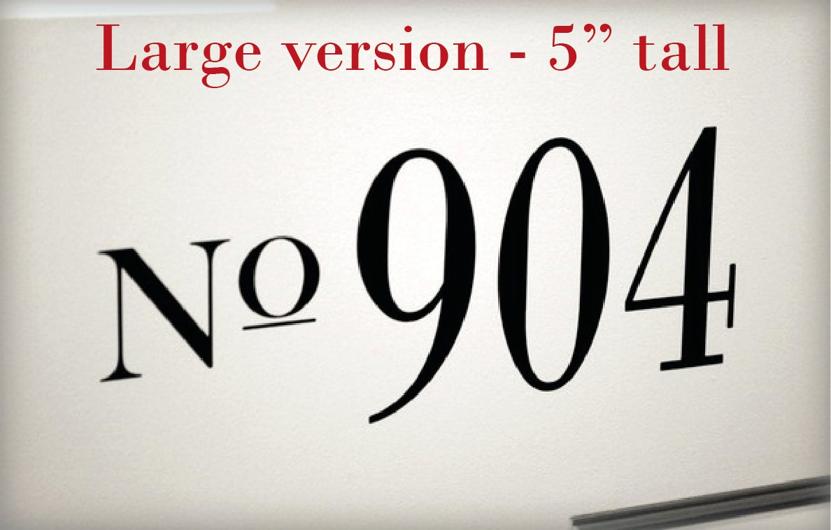 Large custom house numbers vinyl decal for front door for Plastic house letters