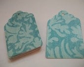 24 Pearlescent Vintage French Blue Floral Print Hang Tags - 2.5 inches long - Great for Scrapbooking, Cardmaking, Gift Tags, Thank You Enclosures, Weddings, Bridal Showers, etc.