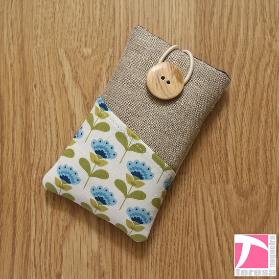 iPhone 4 case / iPod sleeve / cell phone protector / blue floral and leaf design over white