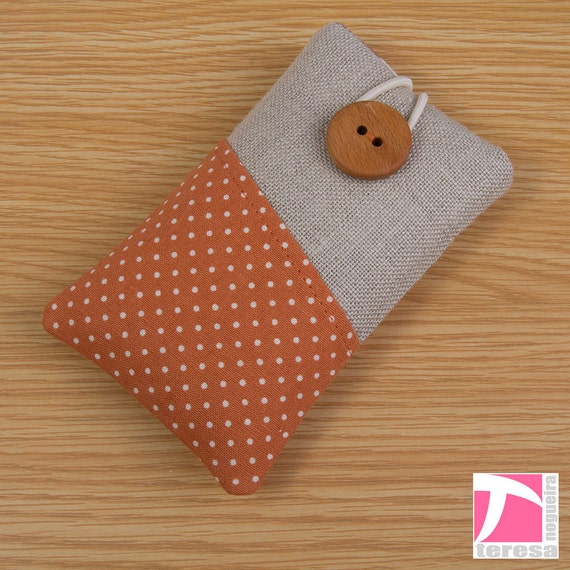 iPhone 5 / iPhone 4 4S pouch / iPod sleeve / white polka dots over orange