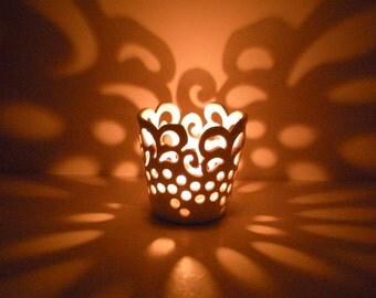 Hand Carved Lace Votive - Candle Holder - Tea Light Holder - Made to Order