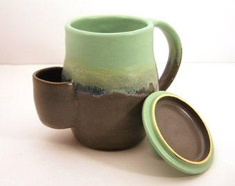Mug, Tea Drinker's Sidekick, Cup With Lid In Lagoon- Made to Order