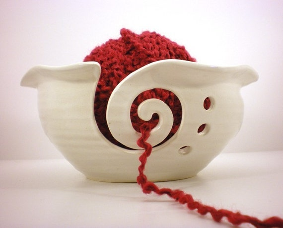 Yarn Bowl, White Crochet Or Knitting Helper - Yarn Holder- Made to order