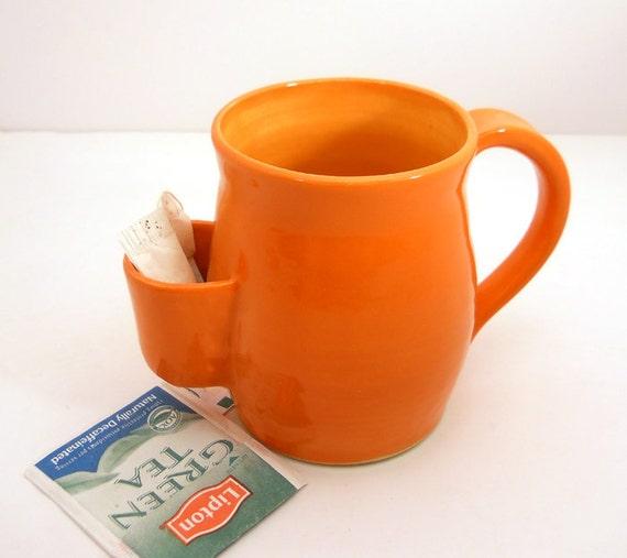 Tea Drinkers Sidekick Mug, Orange Cup, Tea Bag Pouch - Made to Order
