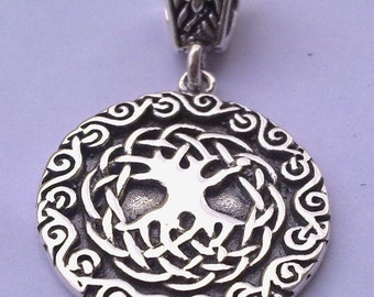 Sterling silver 925 Tree of life ciltic knotwork pendant