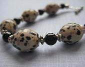 Dalmation Jasper, Black Onyx and Sterling Silver Bracelet