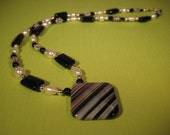 Black Onyx, Striped Black Agate, Freshwater Pearls, and Swarovski Pearls Necklace