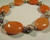 Peach Aventurine Stone and Silver Beaded Bracelet