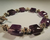 Bracelet - Amethyst and Sterling Silver Beaded Bracelet = Purple Amethyst Bracelet