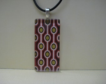 Glass Pendant Necklace - Mod Retro Print Domino Size Glass Tile Pendant with Black Leather Cord Necklace