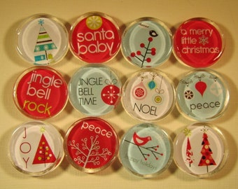 12 Christmas Decoration Fridge Magnets, Magnets Set of 12 Holiday Refrigerator Magnets with Storage Tin