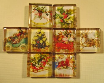 Christmas Decorations Fridge Magnets, Set of 8 Vintage Christmas Refrigerator Magnets with Storage Tin