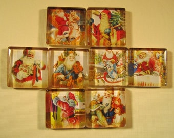 Christmas Decorations Fridge Magnets, Set of 8 Holiday Magnets with Storage Tin