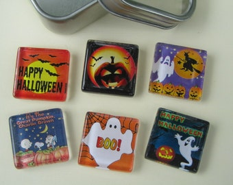 Glass Fridge Magnets - Halloween Decorations, Set of 6 Refrigerator Magnets with Storage Tin