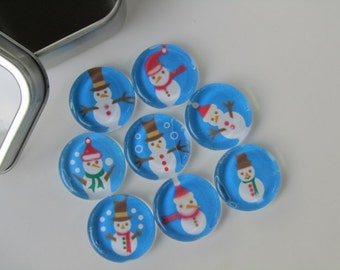 Christmas Decorations Refrigerator Magnets, Set of 8 Fridge Magnets with Storage Tin