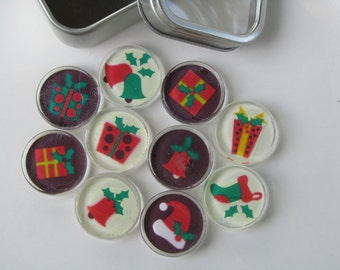 Holiday Decorations Refrigerator Magnets, Set of 10 Fridge Magnets with Storage Tin