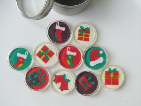 Holiday decorations refrigerator magnets set of by