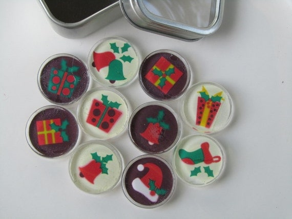 Holiday decorations refrigerator magnets set of fridge