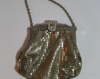 vintage Whiting & David mesh handbag with rhinestone clasp