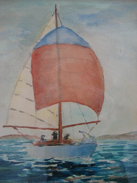 vintage sailboat watercolor