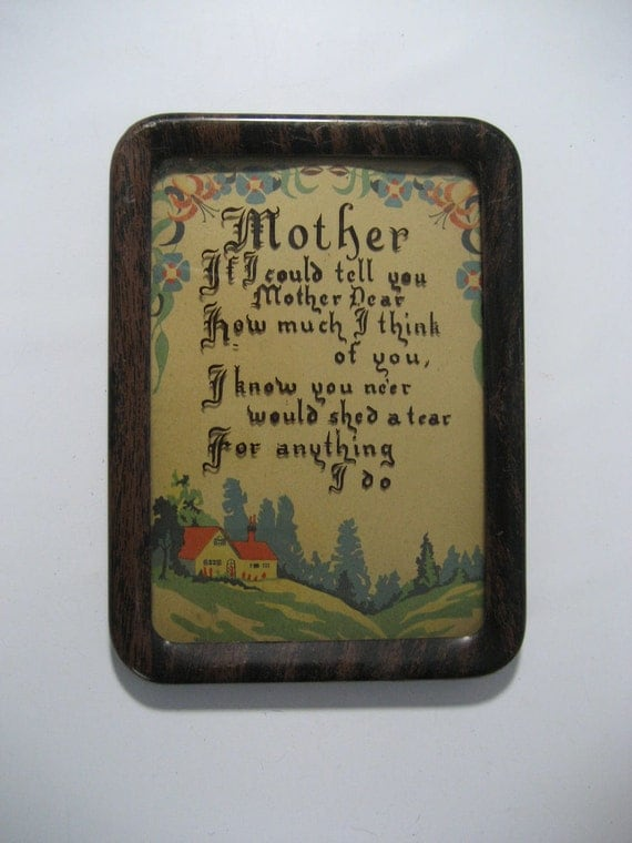 "vintage nostalgic ""MOTHER"" framed motto, reverse painting on glass"