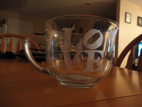 Love etched coffee tea or hot chocolate mug