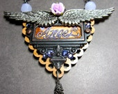 Hand Painted Angel Brass wing Pendant Necklace