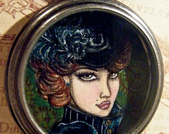 Steampunk Debutante Handpainted Pocket Watch Pendant Necklace