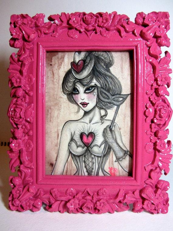 Masked Heart Original Framed 5x7 Artwork