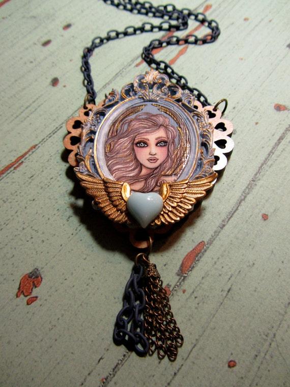 Winged Golden Seraph Hand Painted Original Pendant