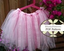 No Sew Tutu PDF Tutorial Pattern  - Ballerina Tulle Skirt Ribbons -INSTANT DOWNLOAD - By BlissfulPatterns