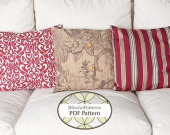 3 Pillow Case Patterns in One - PDF SEWING PATTERNS - Instant Download - By BlissfulPatterns