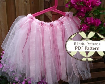 No Sew TUTU PDF Tutorial Pattern  - Ribbons and Tulle to create your own BlissfulPatterns Princess