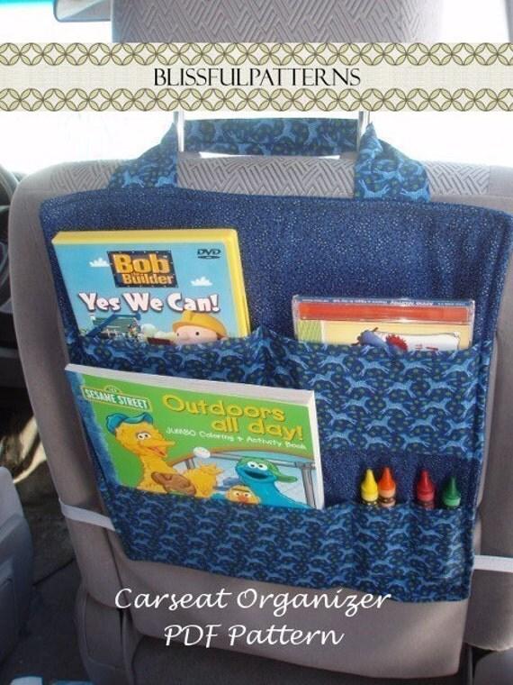 Car Seat Organizer - PDF Sewing Pattern  FREE shipping - Blissfulpatterns