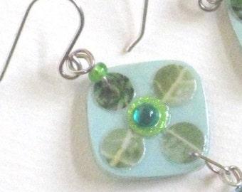 handmade olive green earrings