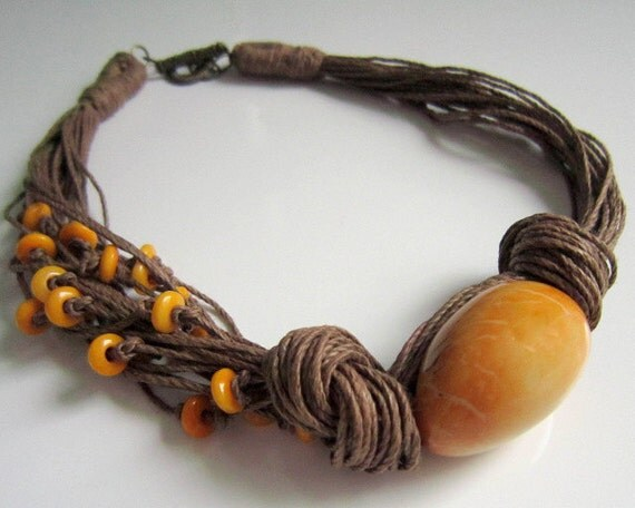 Yellow Tagua Nut  Beads, Organic Linen Necklace