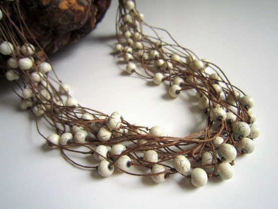 White Glass Crackled Beads On The Linen Cords, Necklace