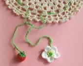 Crocheted Jar Lid Cover strawberry flower