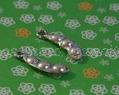 25 Edamame Charms - Soybean Charms - Pea Pod Charms - Metal -  Silver AntiquedTone