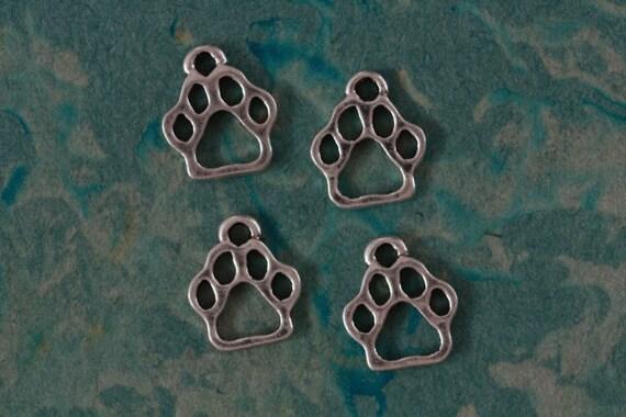 6 Paw Print Charms - Metal - Antiqued Silver Tone