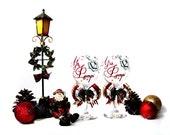 Wedding Bride and Groom Christmas Winter Wonderland Holiday Rhinestone Wine Glass Set