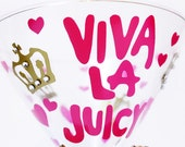 Viva La Juicy Couture INSPIRED Designer Couture Pearl Rhinestone Tiffany Louis Vuitton Bridal Bridesmaid Shower Sorority Wine Glass
