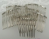 HC-01-8SI  20pcs Silver Plated Hair Comb w/ 8 Pin .NICKEL FREE