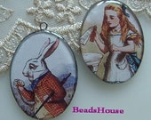 SALE 20% OFF: 2Pcs Pretty Silver Plated Resin Pendant (30x 40 mm)-Alice in Wonderland