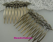 HC-45Ant   4pcs  Antique Brass Filigree hair combs, Nickel Free