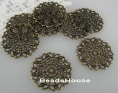 12 pcs Antique Brass Plated  Filigree, 25 mm