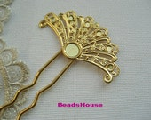 2 pcs LARGE Golden Plated  W / Filigree Hair Fork Charms,2mm x 100 mm